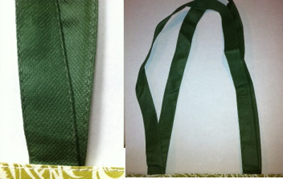 Nonwoven polypropylene handles for custom bags