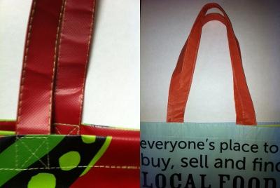 Self-Material handles for custom bags