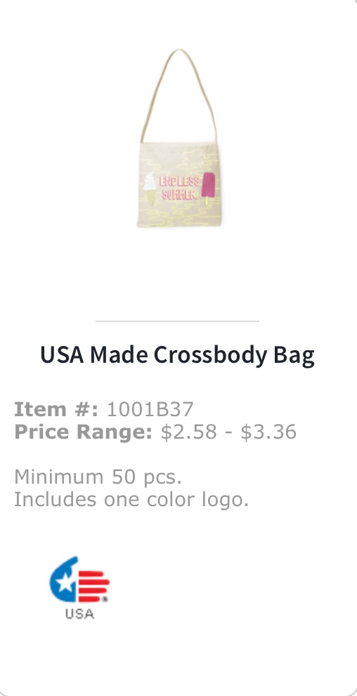 USA made crossbody bag
