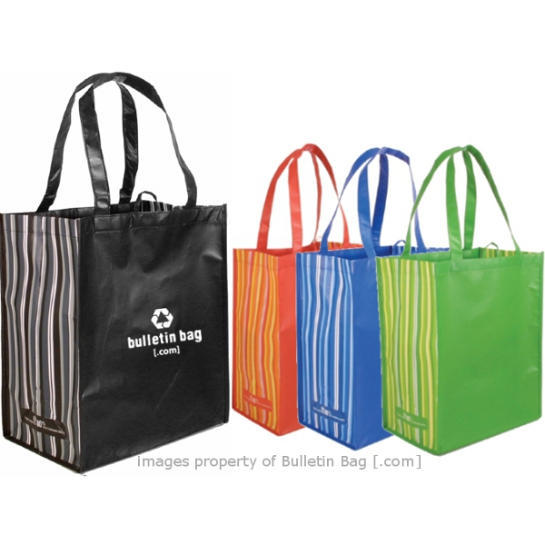 Laminated Grocery Bags Pet Laminated Striped Tote